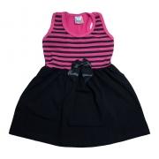 Vestido Infantil Nadador Listras Pink e Preto