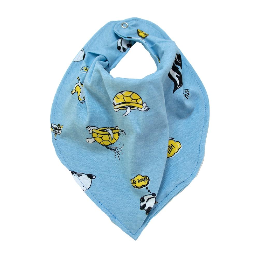 Babador Bebê Bandana Bichinhos  Azul  - Jeito Infantil