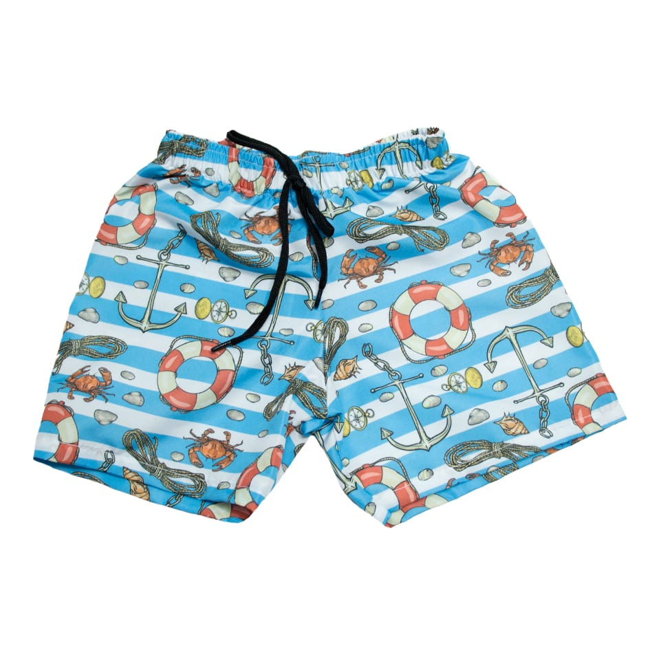Bermuda Tactel Infantil Âncoras Azul  - Jeito Infantil