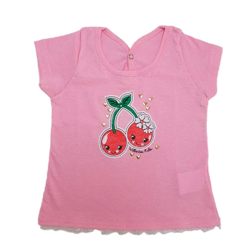 Blusa Bebê Cereja Rosa   - Jeito Infantil