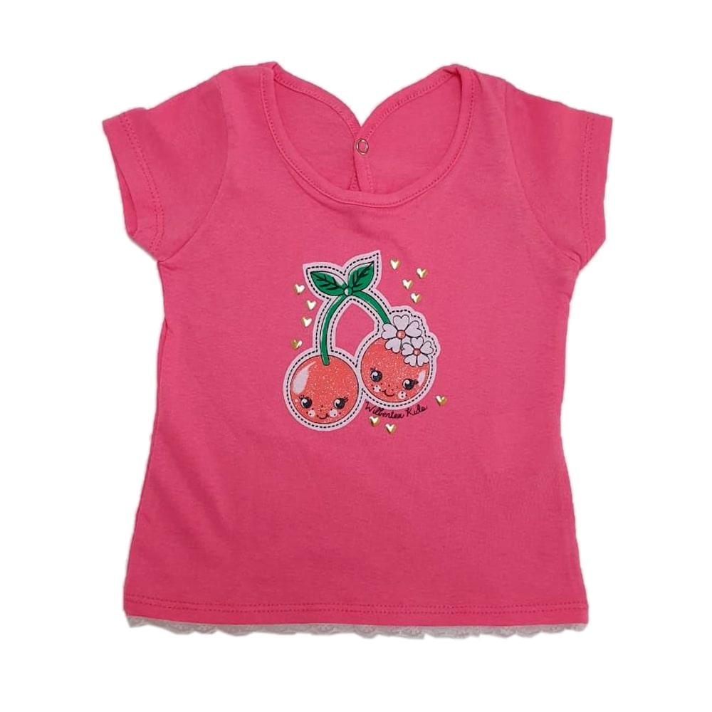 Blusa Bebê Cereja Rosa Choque  - Jeito Infantil