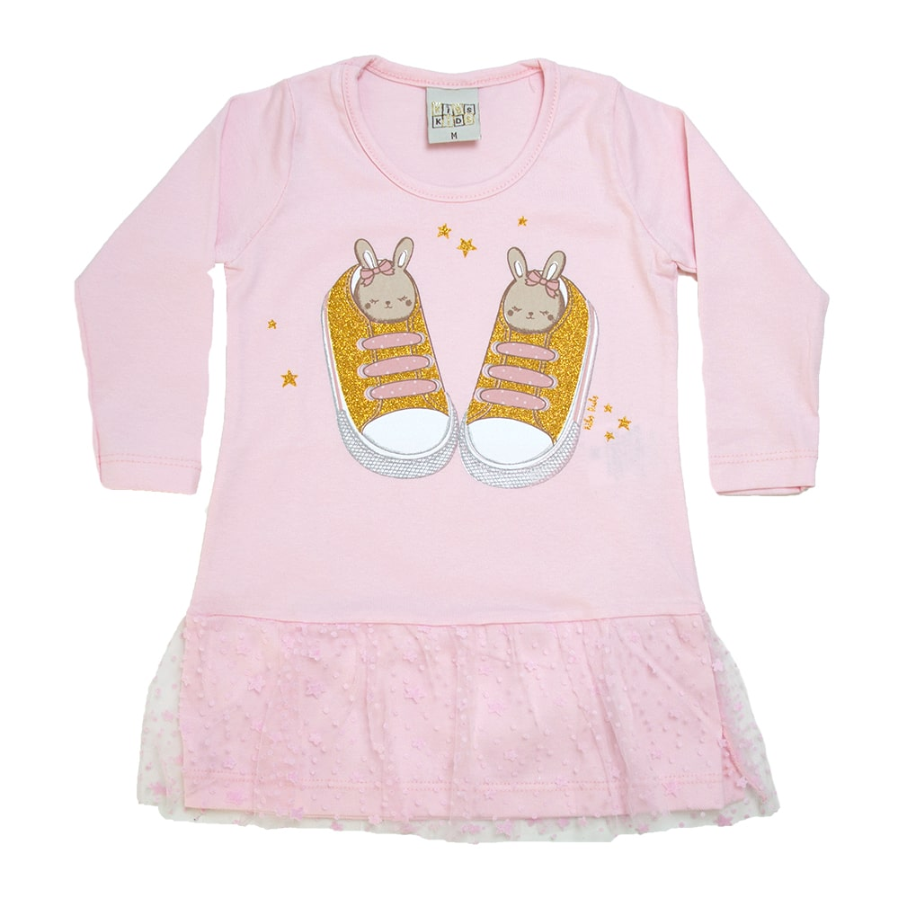 Blusa Bebê Com Tule Rosa  - Jeito Infantil