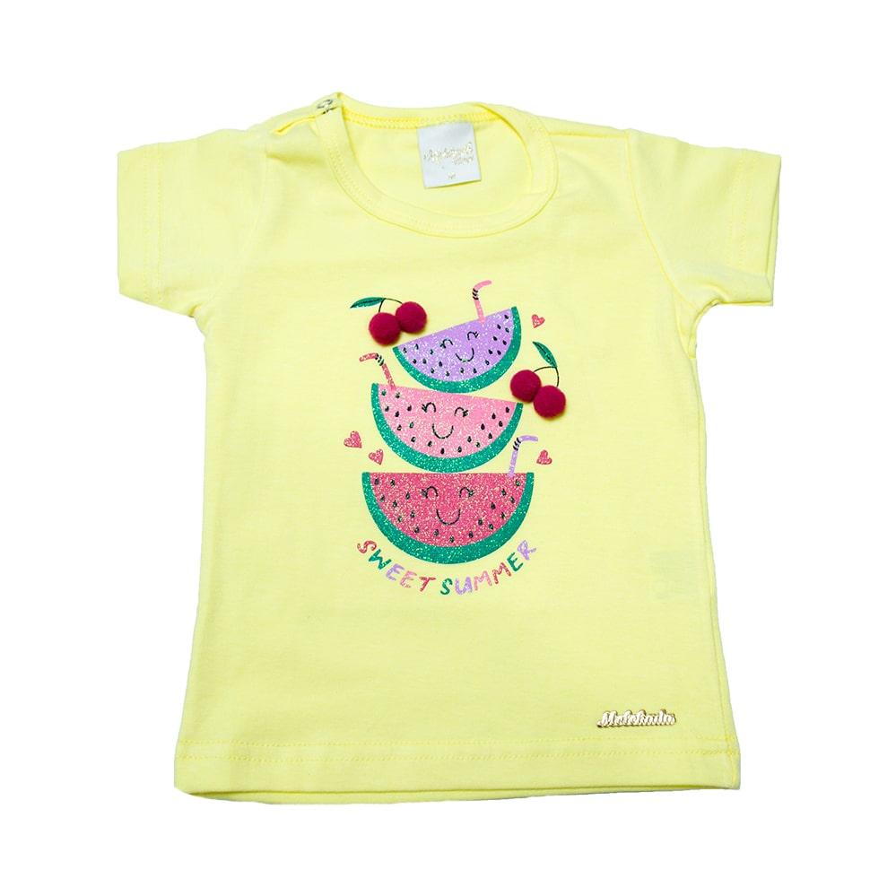 Blusa Bebê Melancia e Pompom Amarela  - Jeito Infantil