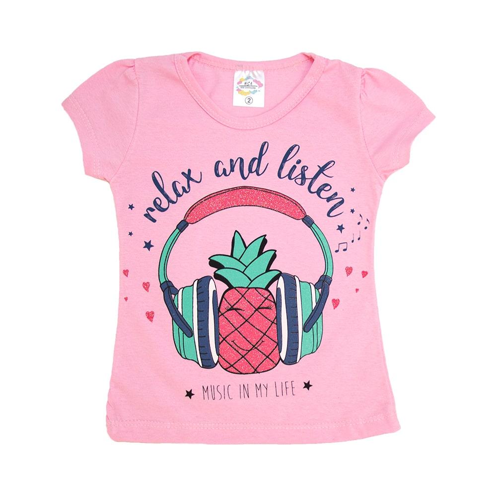Blusa Infantil Abacaxi Rosa  - Jeito Infantil