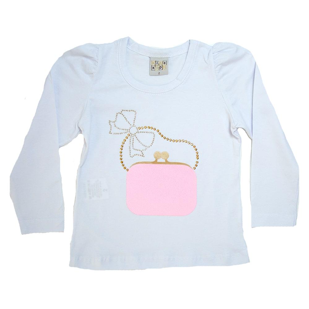 Blusa Infantil Bolsa Branca  - Jeito Infantil