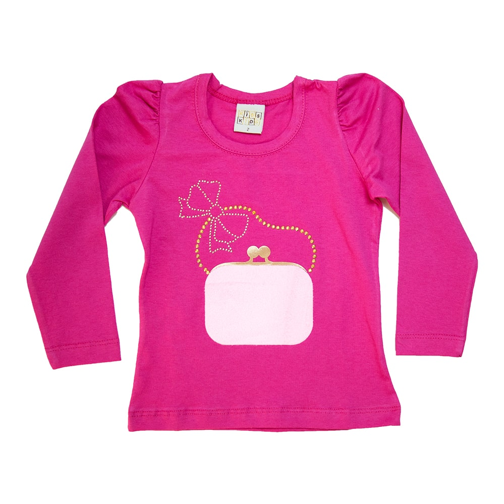 Blusa Infantil Bolsa Pink  - Jeito Infantil