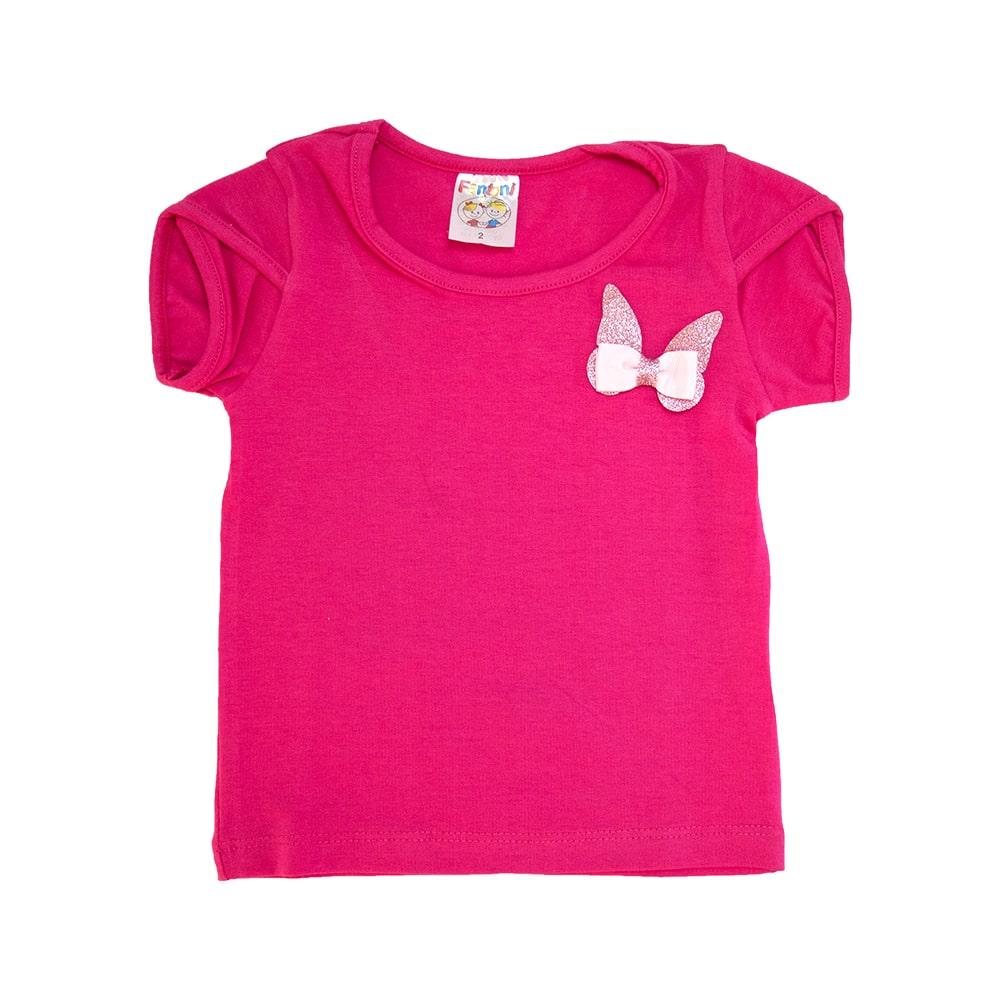 Blusa Infantil Borboleta  Pink  - Jeito Infantil