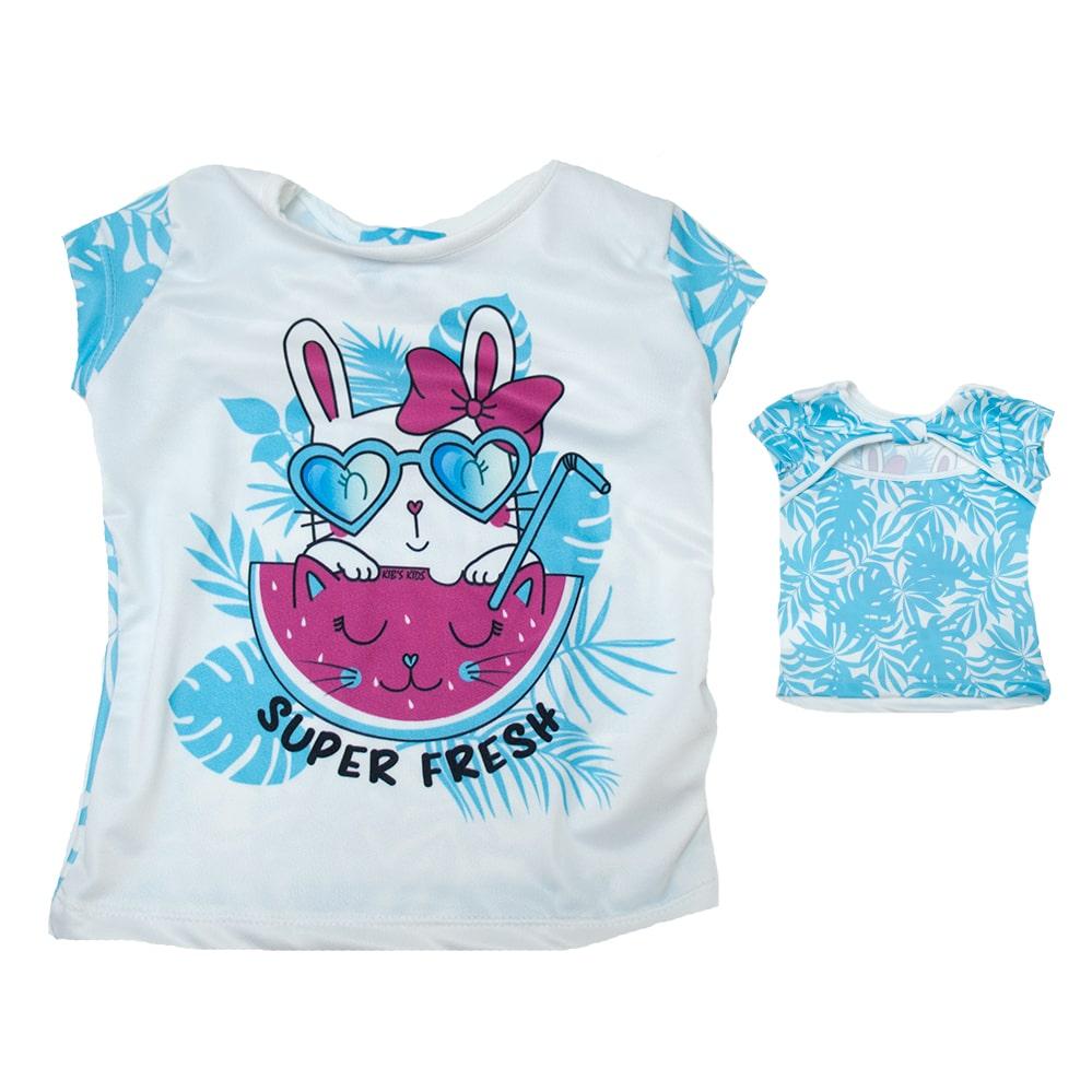 Blusa Infantil Coelhinha Azul  - Jeito Infantil