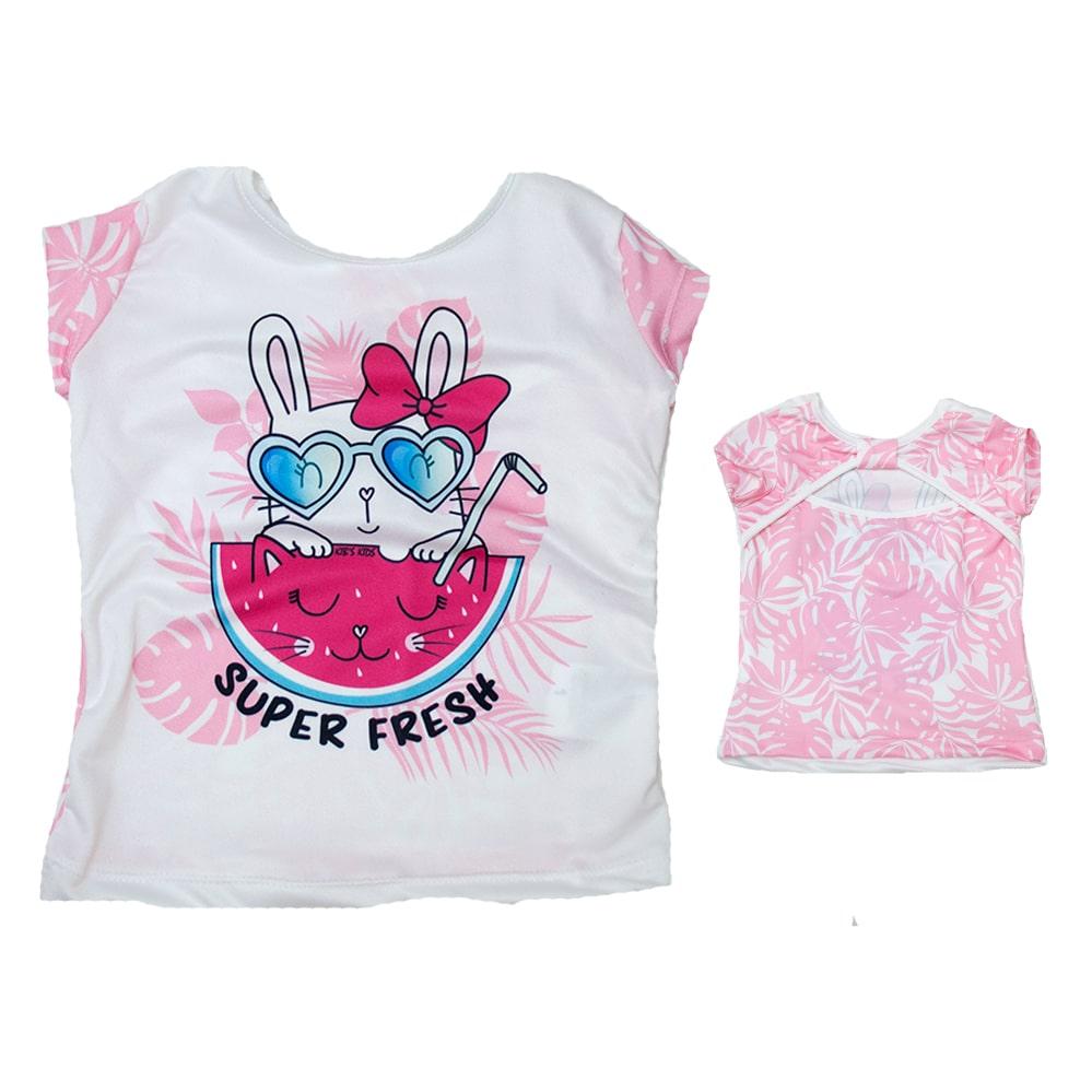Blusa Infantil Coelhinha Rosa  - Jeito Infantil