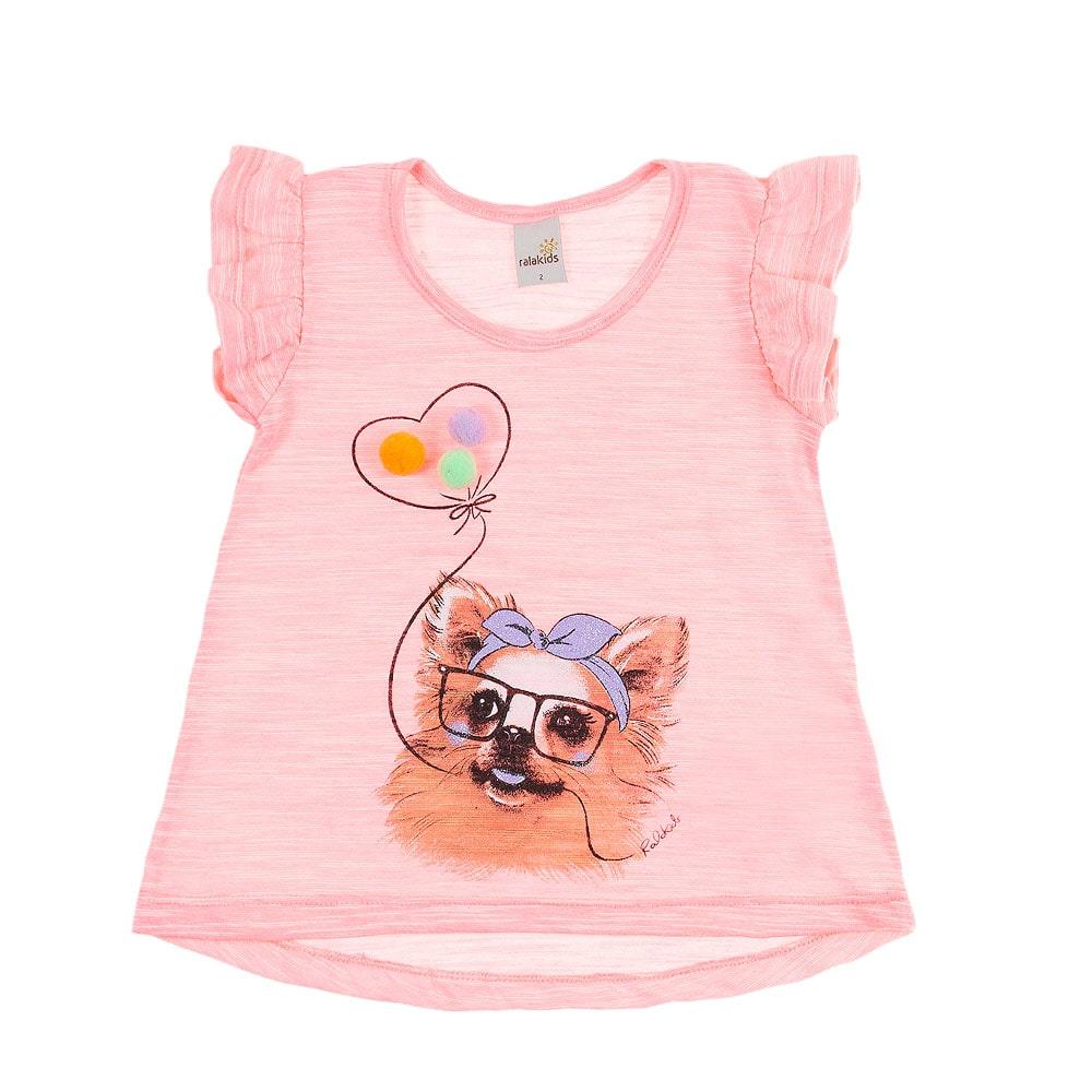 Blusa Infantil Dog Pompom Rosa  - Jeito Infantil