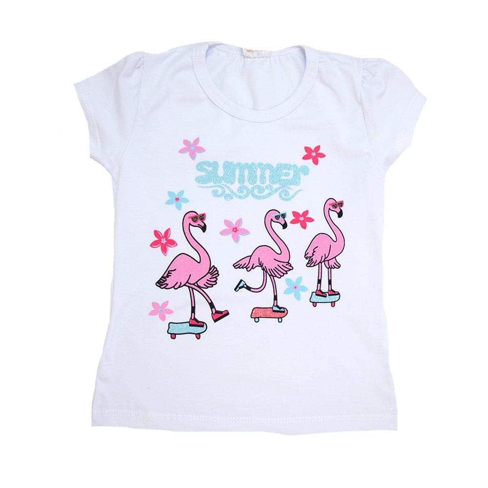 Blusa Infantil Flamingos Branca  - Jeito Infantil