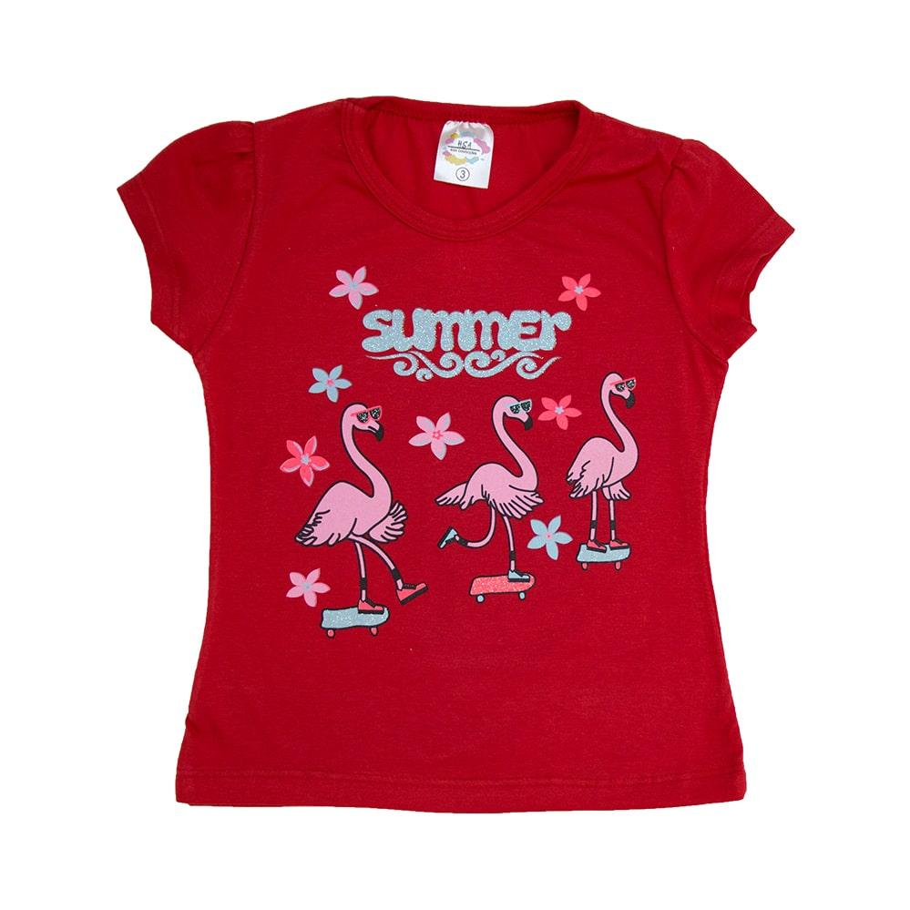 Blusa Infantil Flamingos Vermelho  - Jeito Infantil