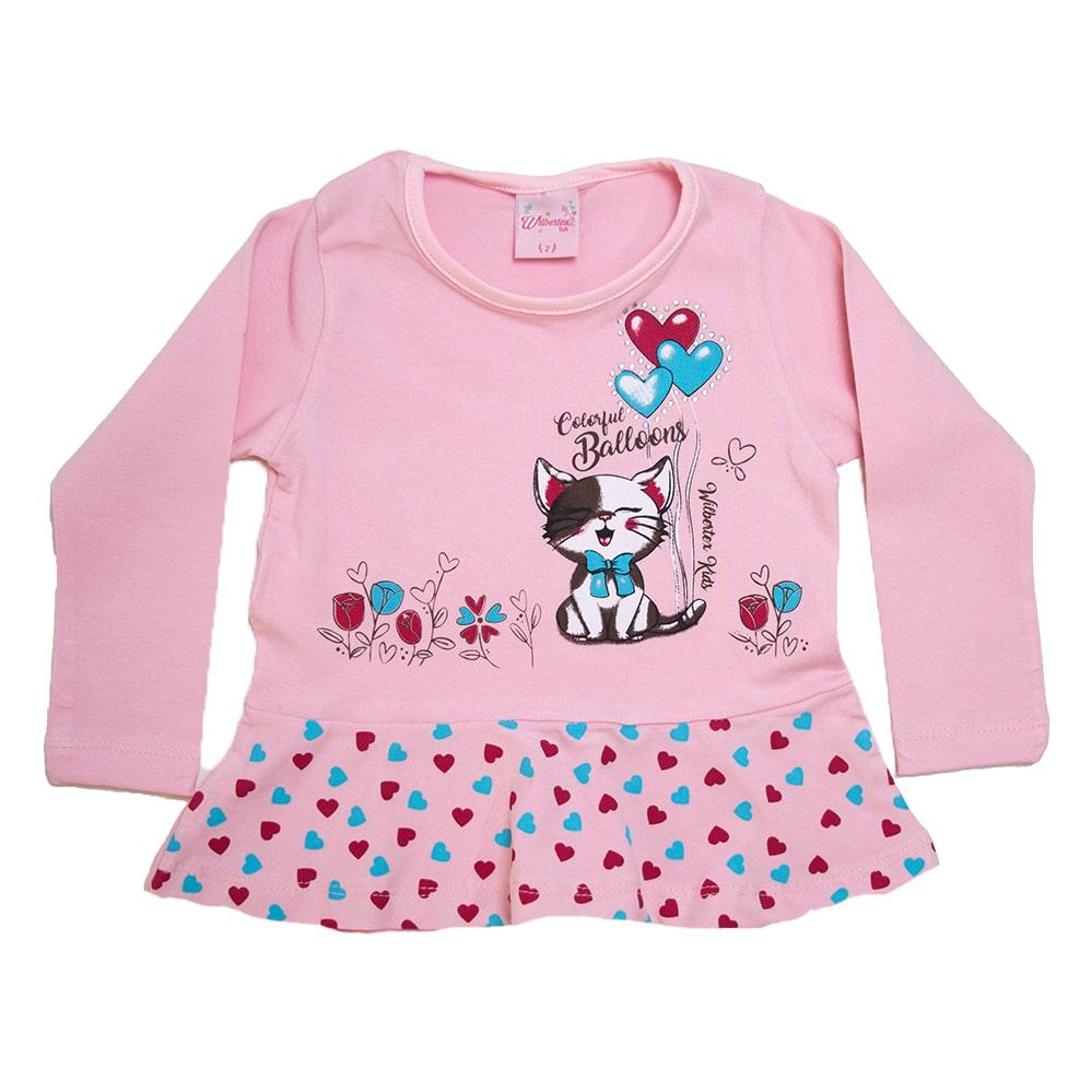 Blusa Infantil Gatinho Rosa  - Jeito Infantil