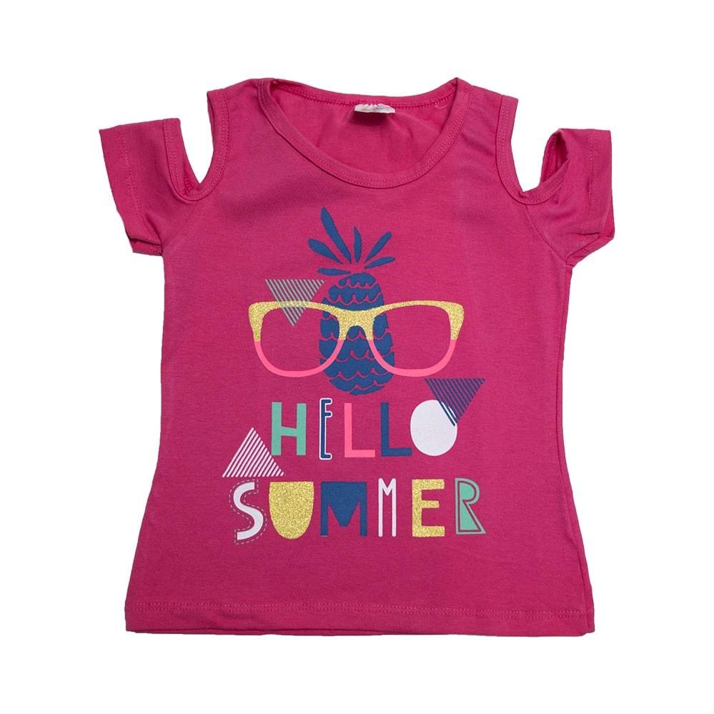 Blusa Infantil Hello Summer Pink  - Jeito Infantil