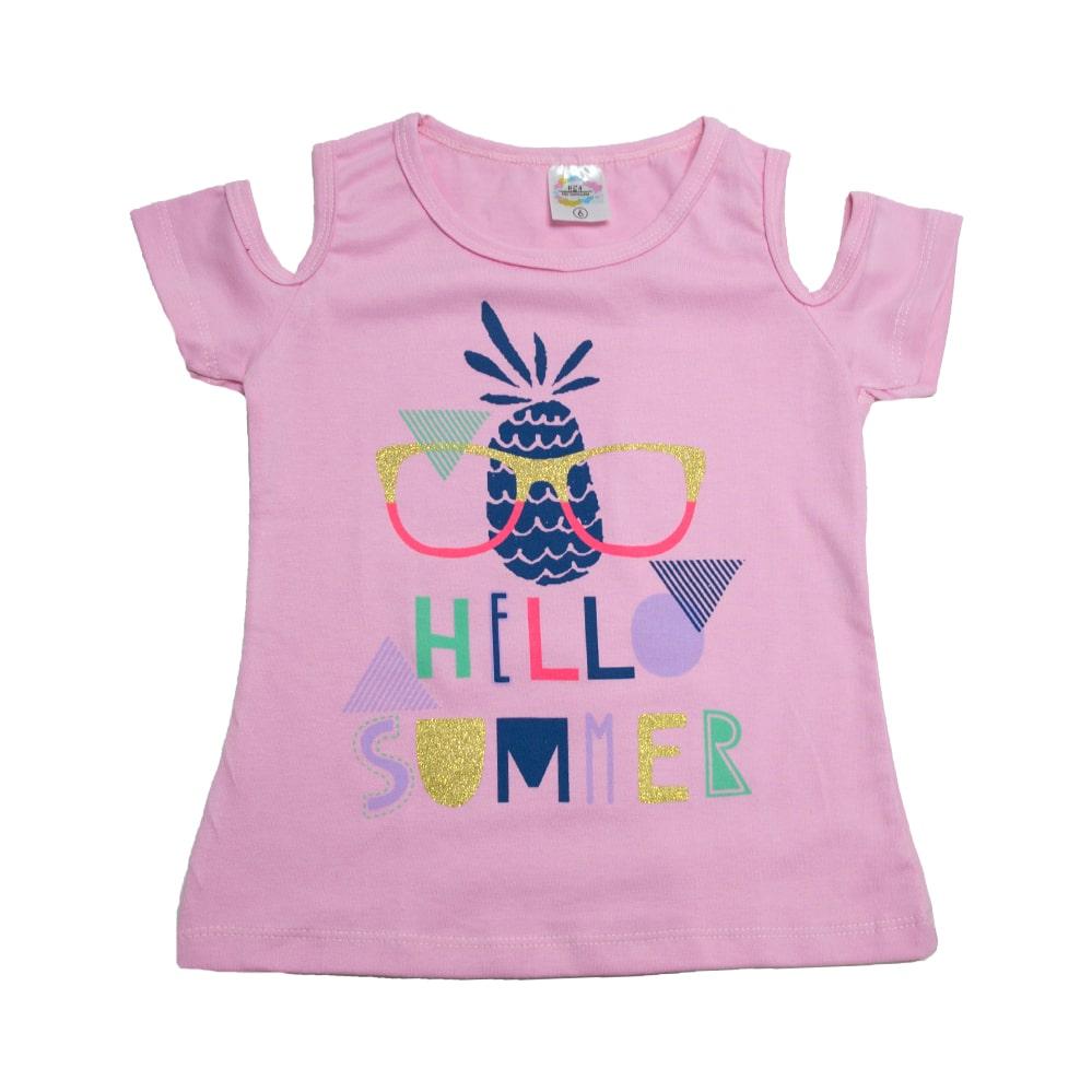 Blusa Infantil Hello Summer Rosa  - Jeito Infantil
