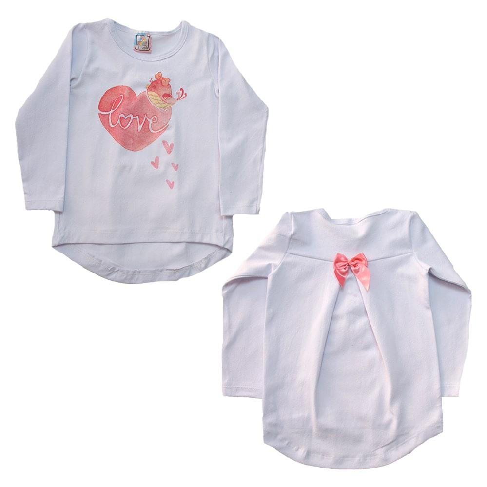 Blusa Infantil Love Branco  - Jeito Infantil
