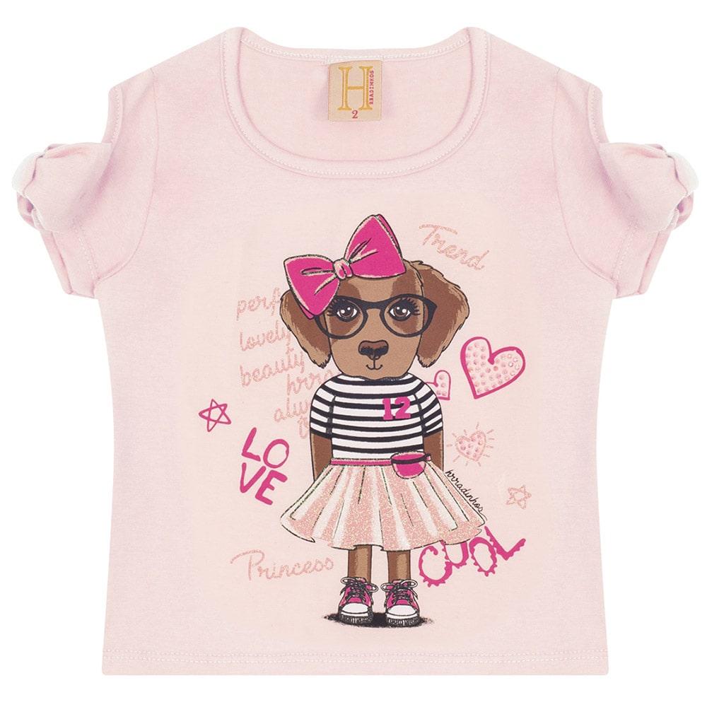 Blusa Infantil Love Dog  Rosa  - Jeito Infantil