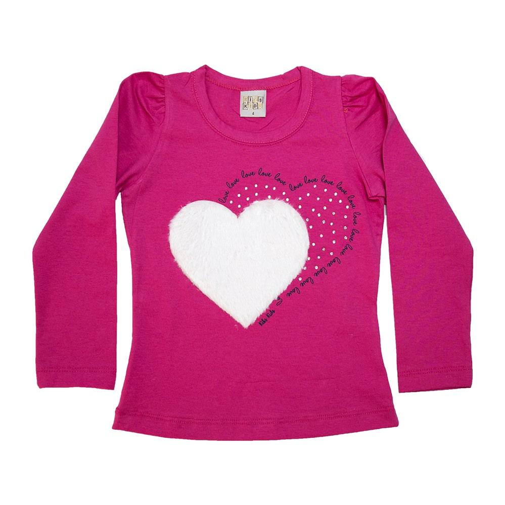 Blusa Infantil Love Pink  - Jeito Infantil