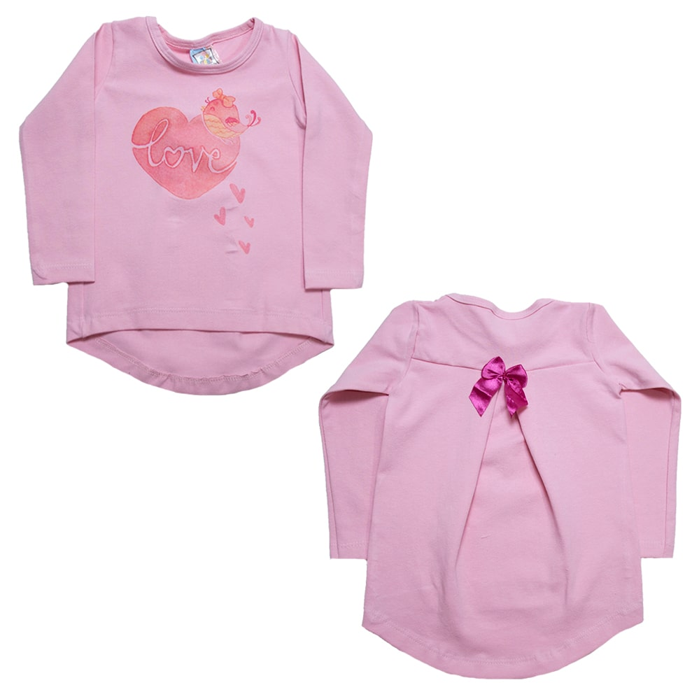 Blusa Infantil Love Rosa  - Jeito Infantil