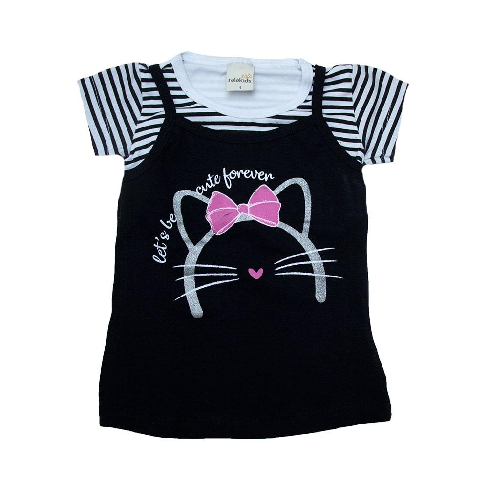 Blusa Infantil Sobreposta Gatinha Preto  - Jeito Infantil