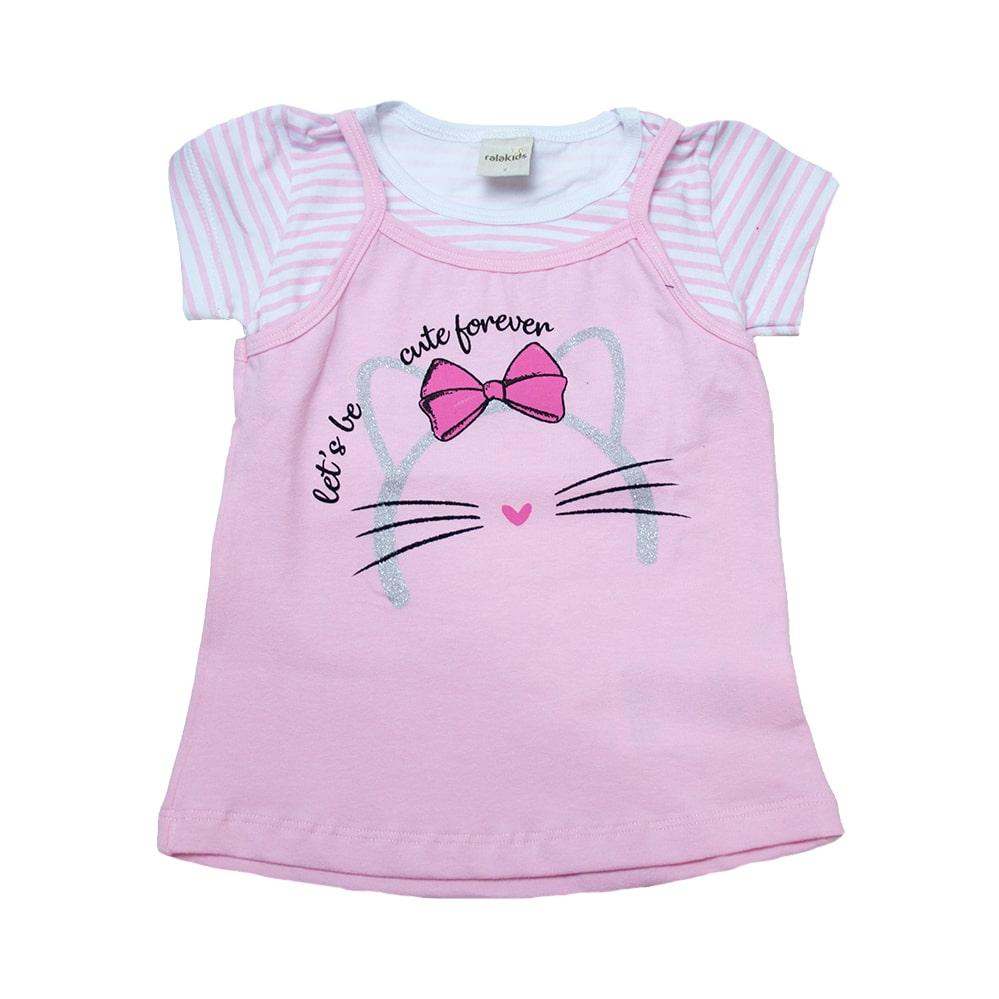 Blusa Infantil Sobreposta Gatinha Rosa  - Jeito Infantil