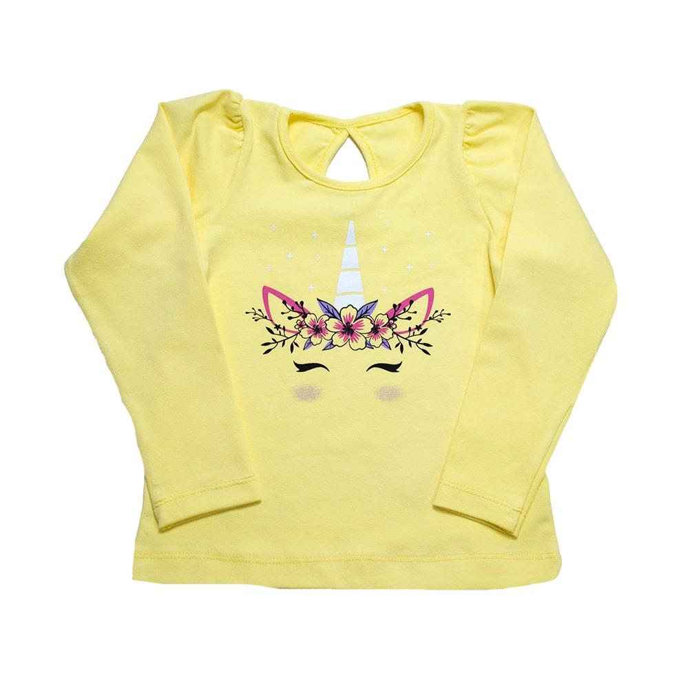 Blusa Infantil Unicórnio Amarela  - Jeito Infantil