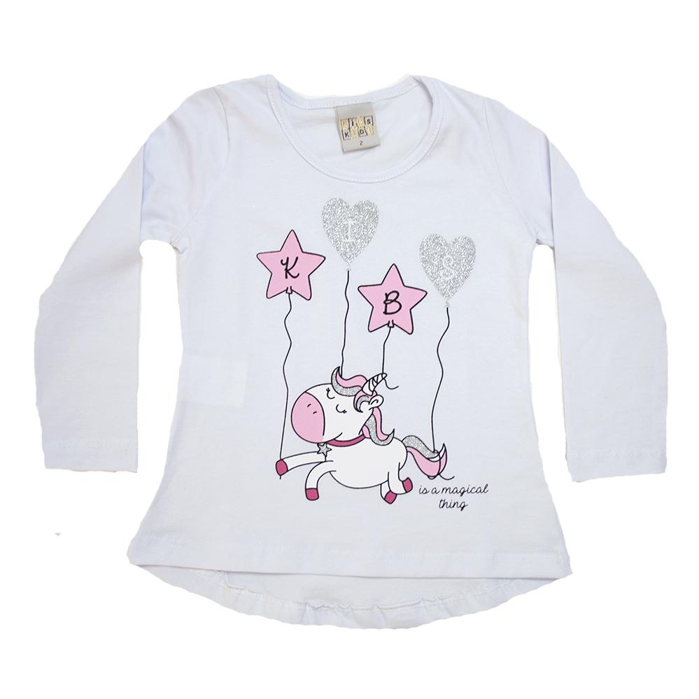 Blusa Infantil Unicórnio Branca  - Jeito Infantil