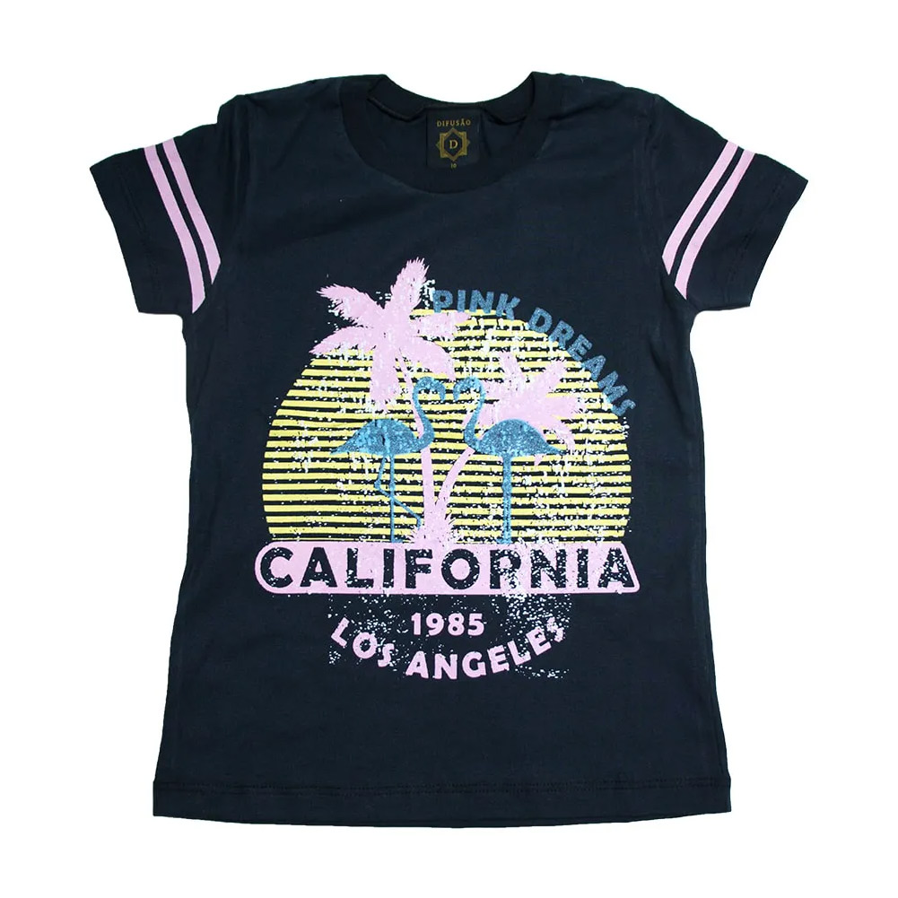Blusa Juvenil Califórnia Preta  - Jeito Infantil