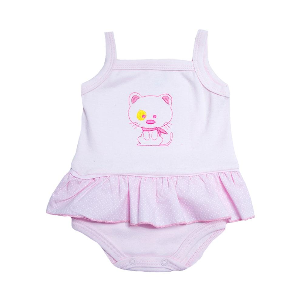 Body Bebê Alcinha Com Bordado Baby Rosa  - Jeito Infantil
