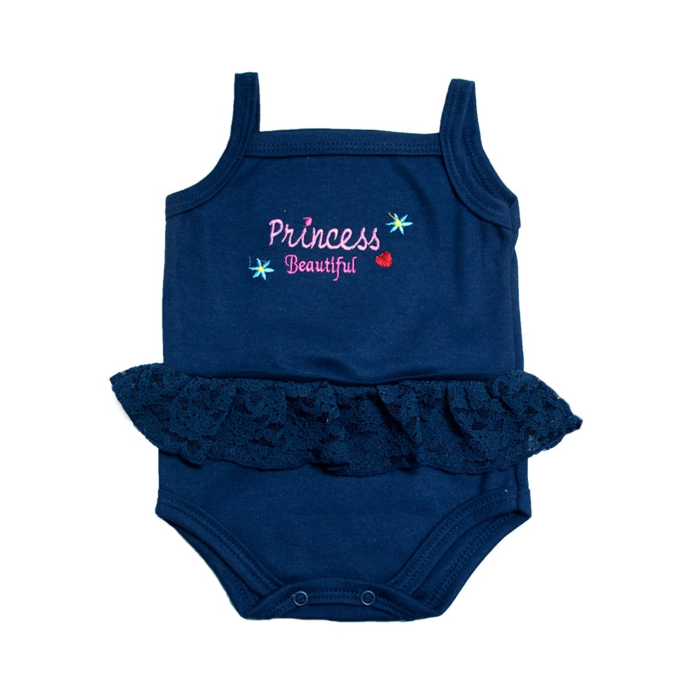 Body Bebê Alcinha Princess Marinho  - Jeito Infantil