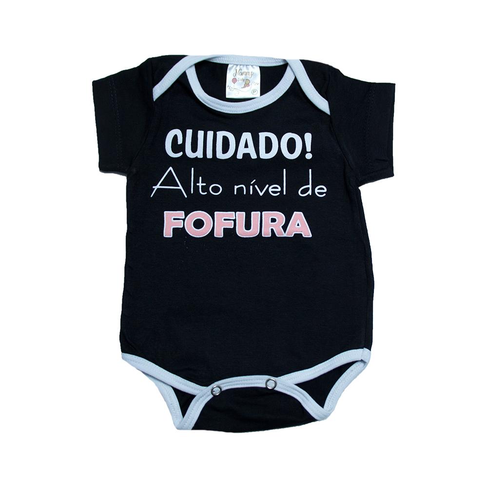 Body Bebê Alto Nível De Fofura Preto  - Jeito Infantil