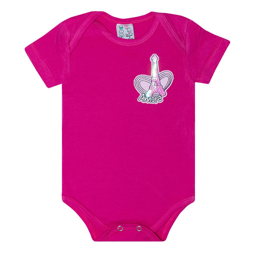 Body Bebê Aplique Amore Pink  - Jeito Infantil