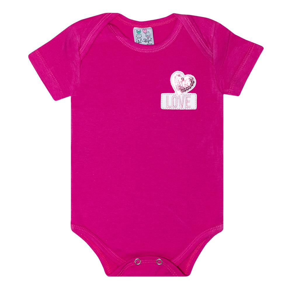 Body Bebê Aplique Love Pink  - Jeito Infantil
