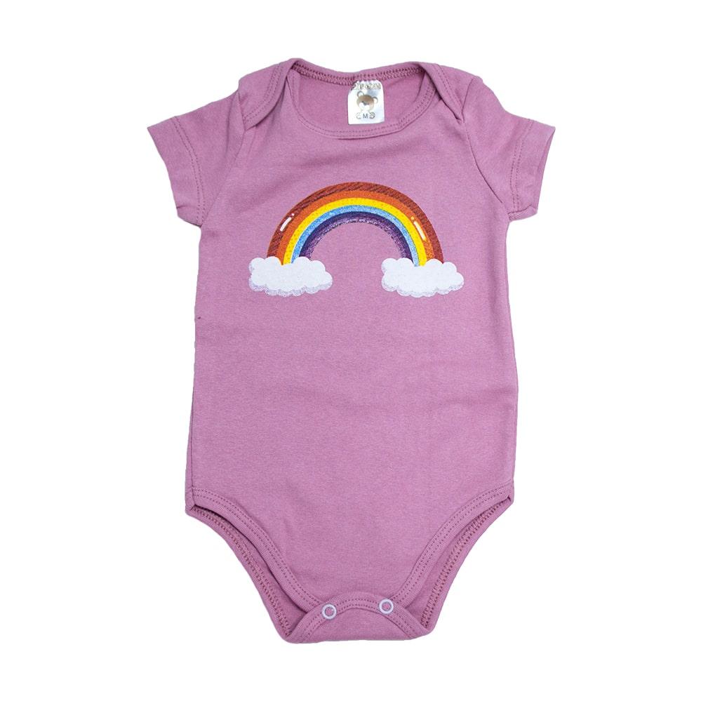 Body Bebê Arco Íris Rosê  - Jeito Infantil