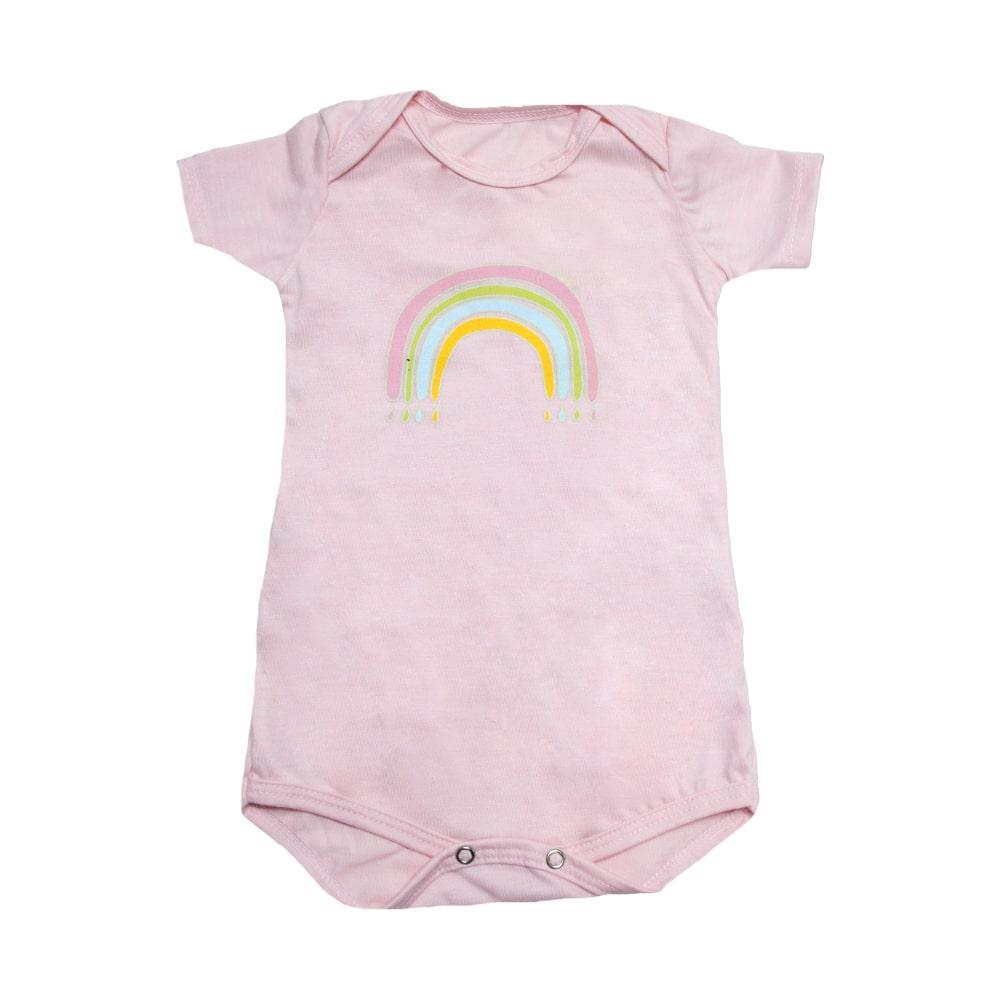 Body Bebê Arco-Íris Rosa  - Jeito Infantil