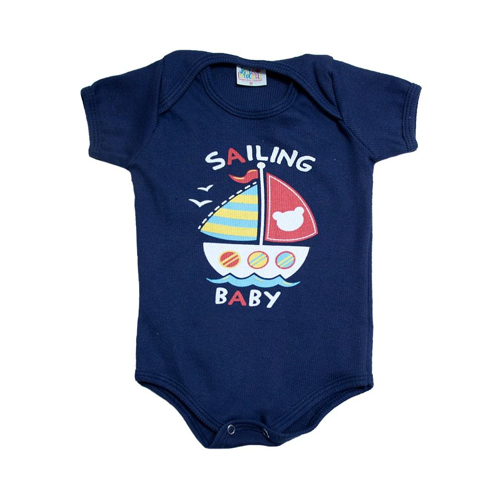 Body Bebê Barquinho Marinho  - Jeito Infantil
