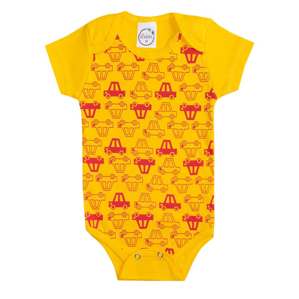 Body Bebê Carrinhos Amarelo  - Jeito Infantil