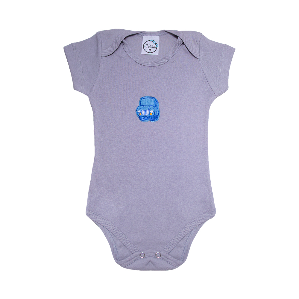 Body Bebê Carro  Cinza  - Jeito Infantil