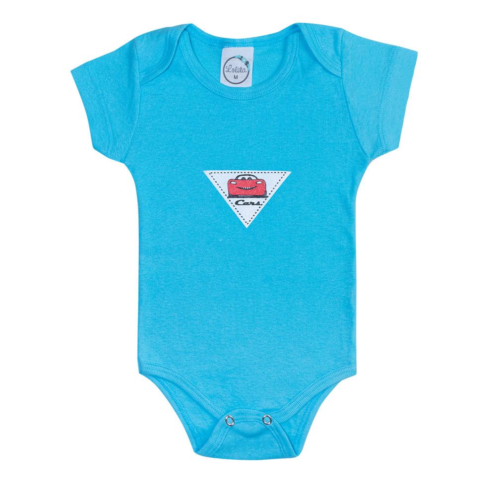 Body Bebê Cars Azul  - Jeito Infantil