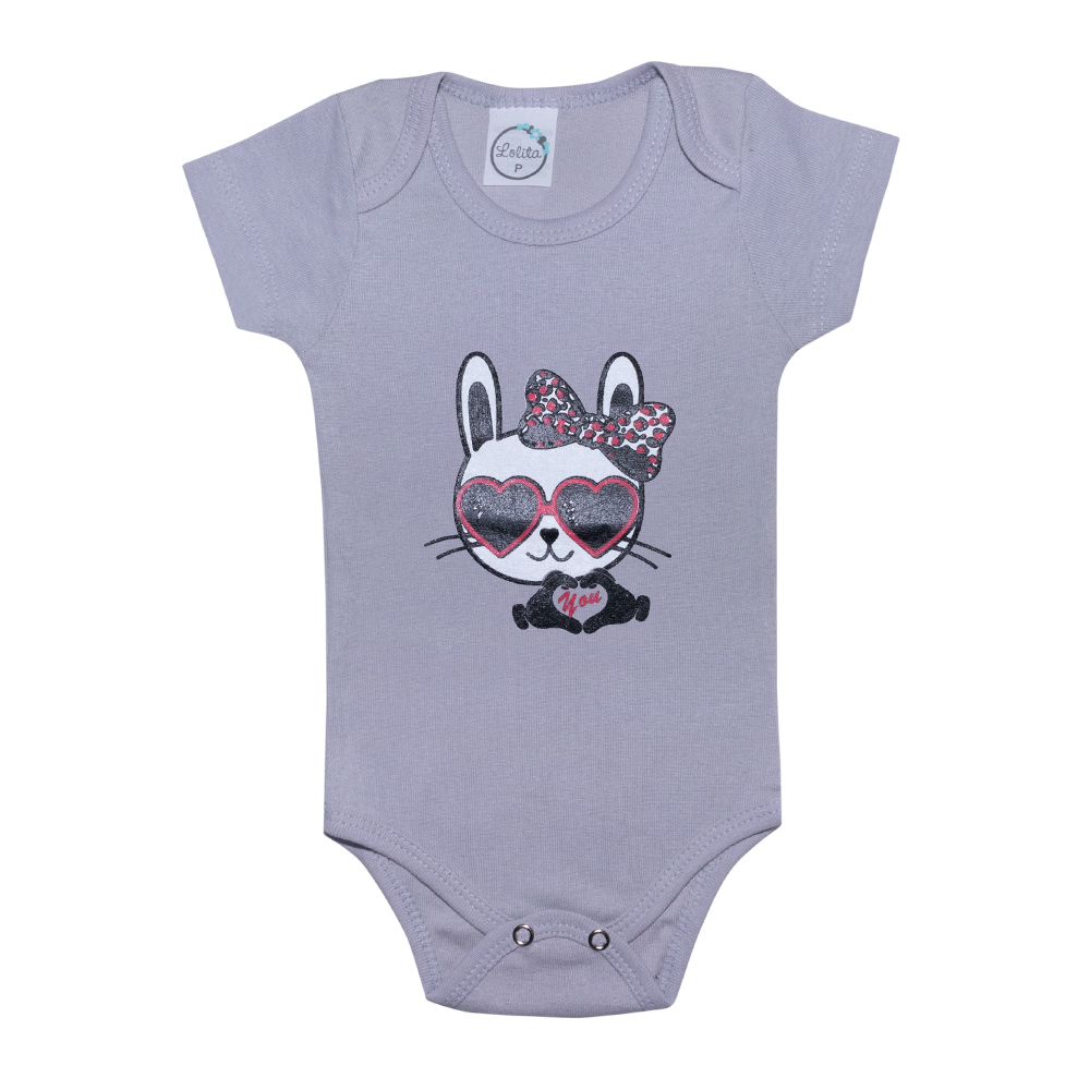 Body Bebê Cat Cinza  - Jeito Infantil
