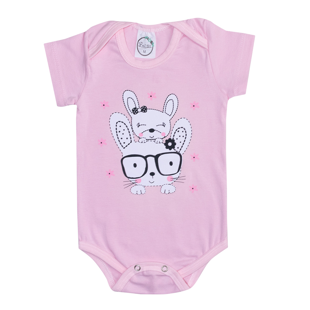 Body Bebê Coelhinhas Rosa  - Jeito Infantil