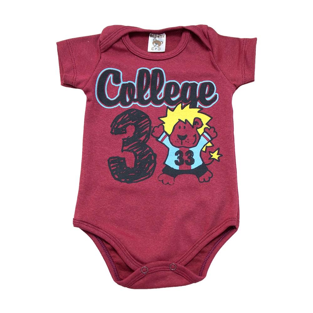 Body Bebê College  Bordo  - Jeito Infantil