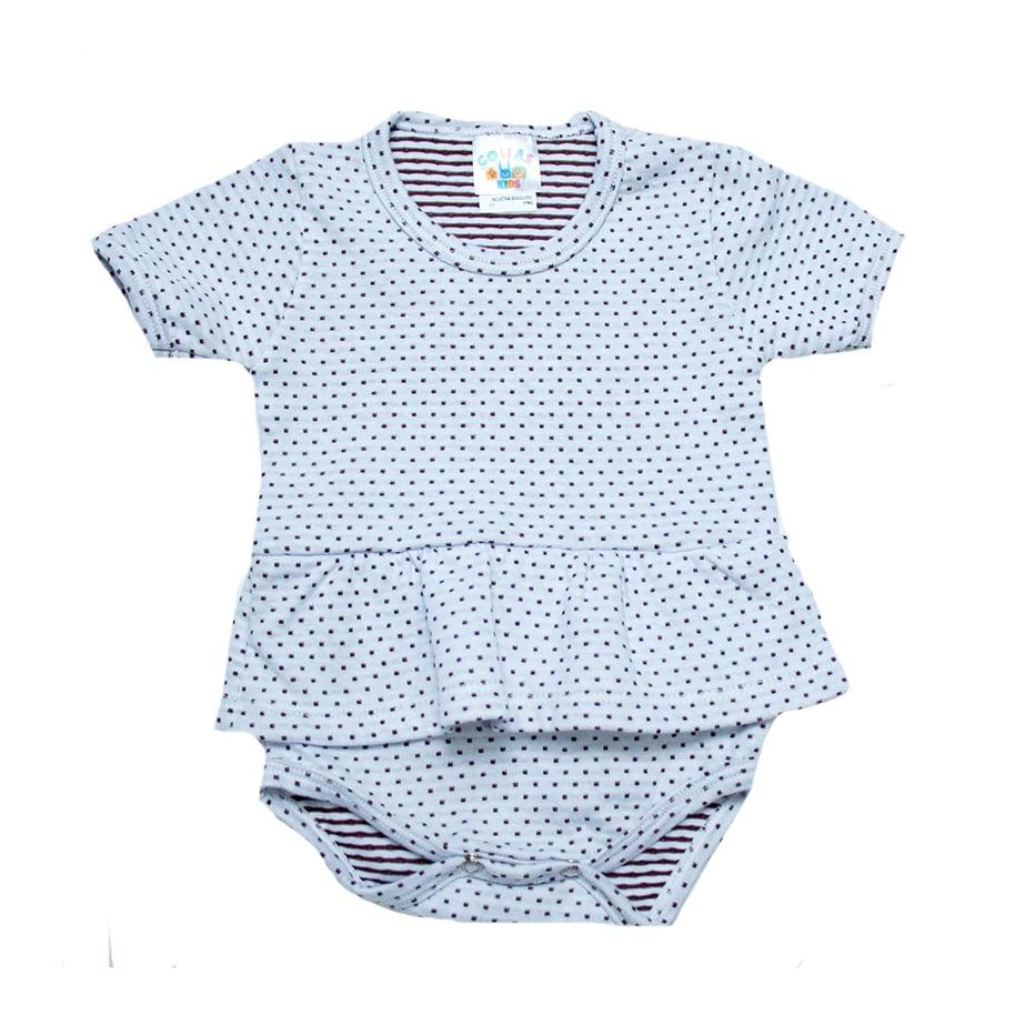 Body Bebê Com Babado  Poá Branco  - Jeito Infantil