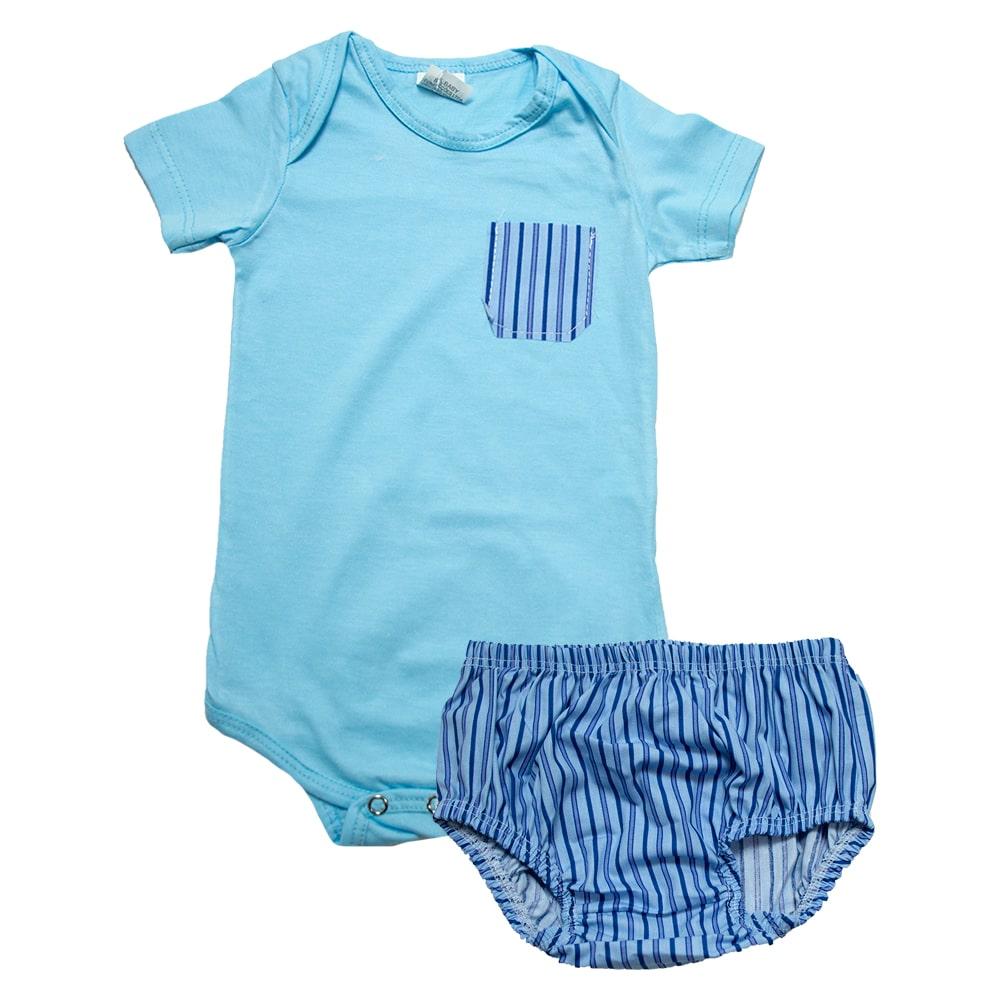 Body Bebê Com Tapa Fralda Azul  - Jeito Infantil