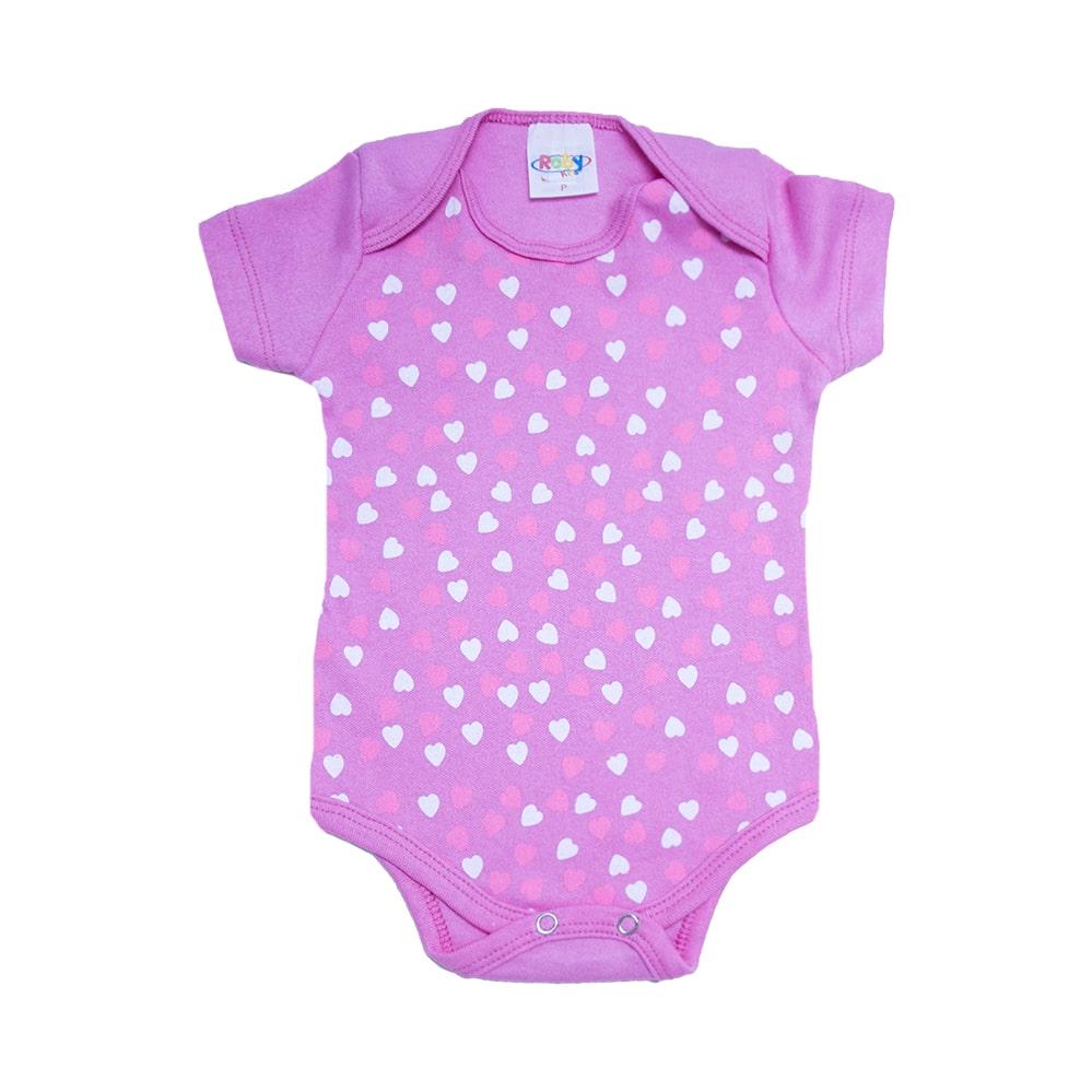Body Bebê Corações Pink  - Jeito Infantil
