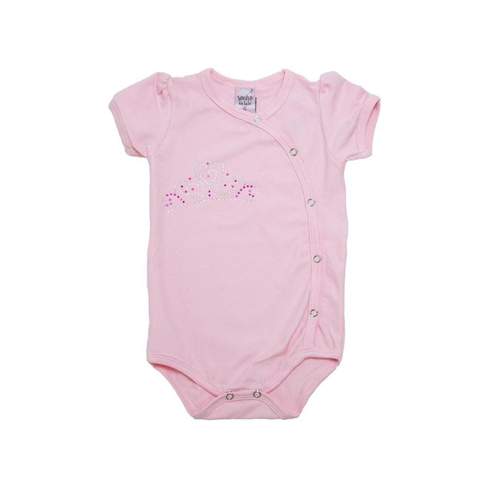 Body Bebê Coroa Rosa  - Jeito Infantil