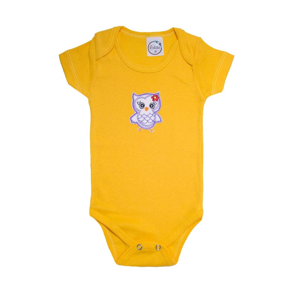 Body Bebê Coruja  Amarelo  - Jeito Infantil