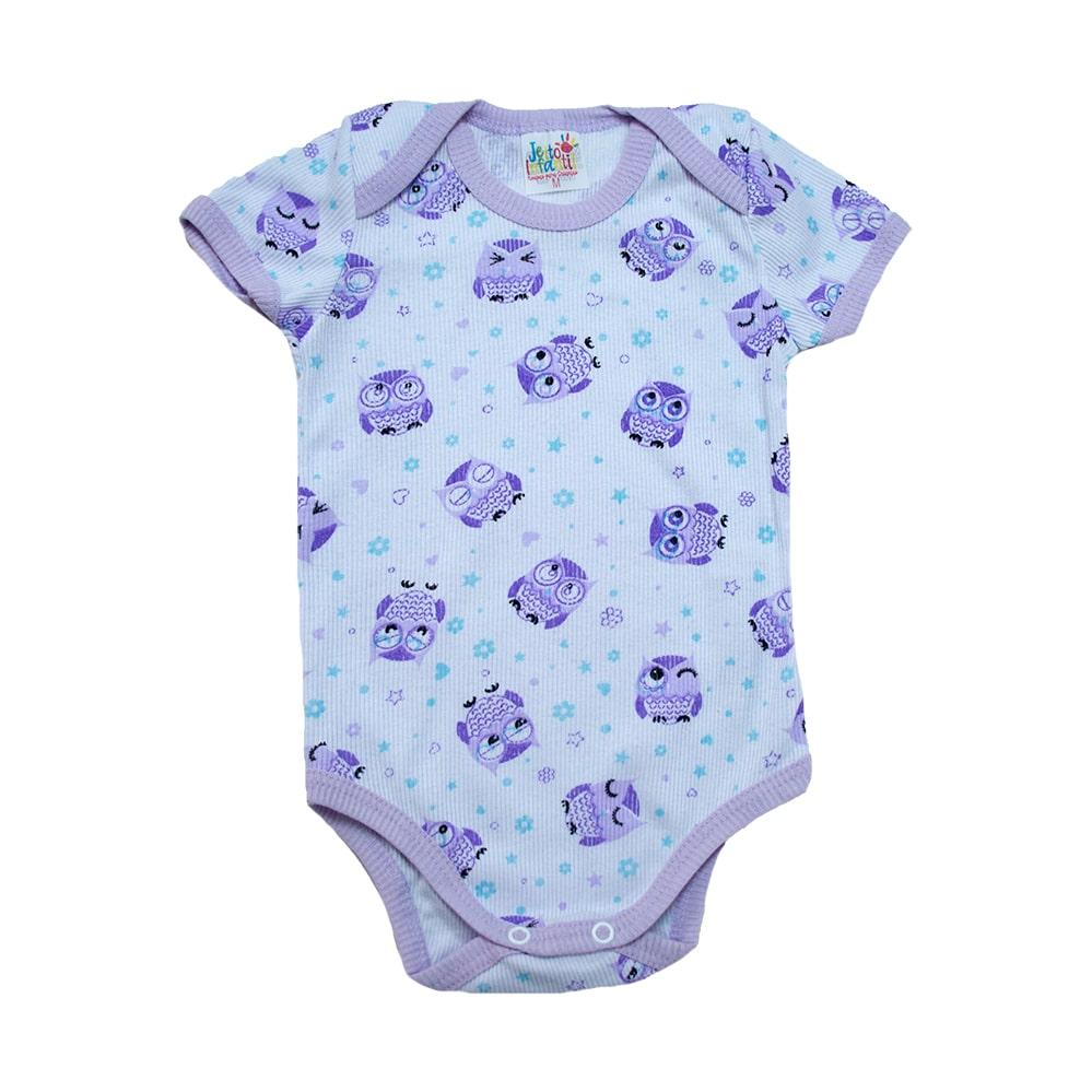 Body Bebê Coruja Branco e Lilás  - Jeito Infantil