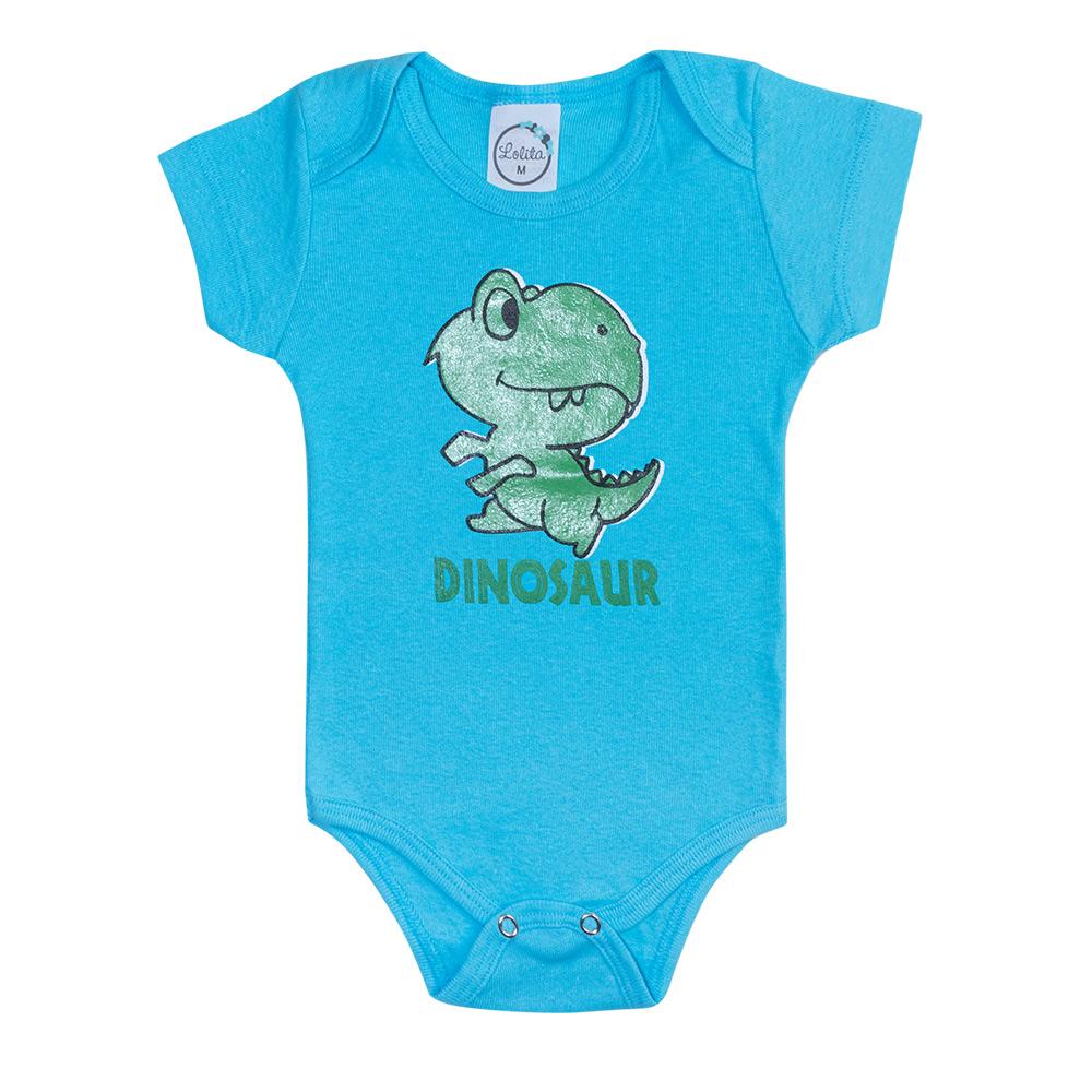 Body Bebê Dino Azul  - Jeito Infantil