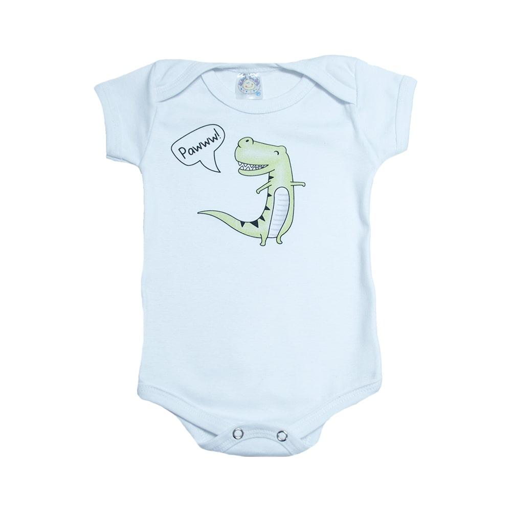 Body Bebê Dino Branco  - Jeito Infantil